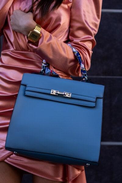 sac à main, bleu, éclat doré, montre à bracelet, mode, robe, soie, femme, bagages, en cuir