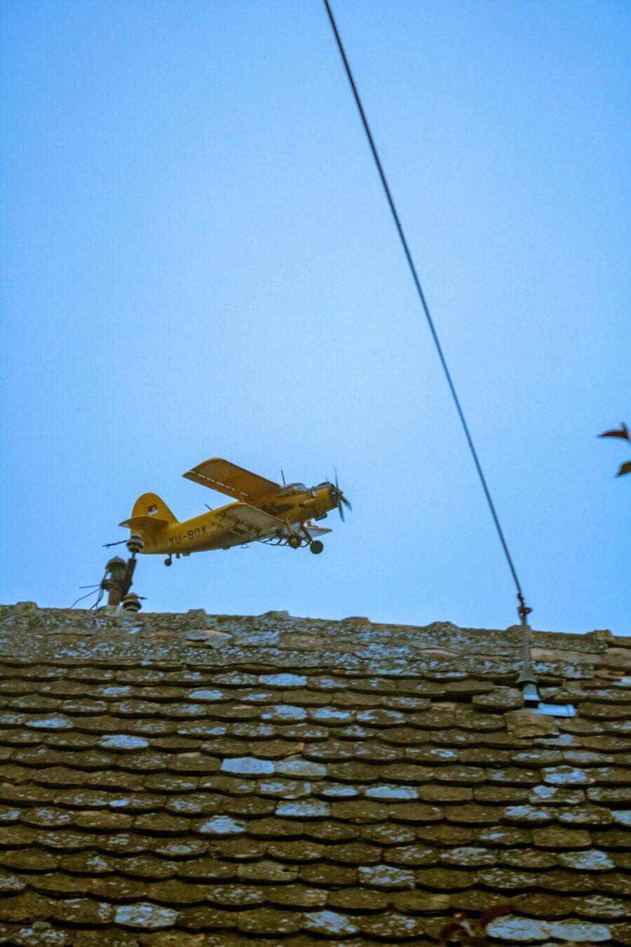 biplan, avion, vue de côté, au décollage, secteur d'activité, paysage, à l'extérieur, technologie, nature, avion