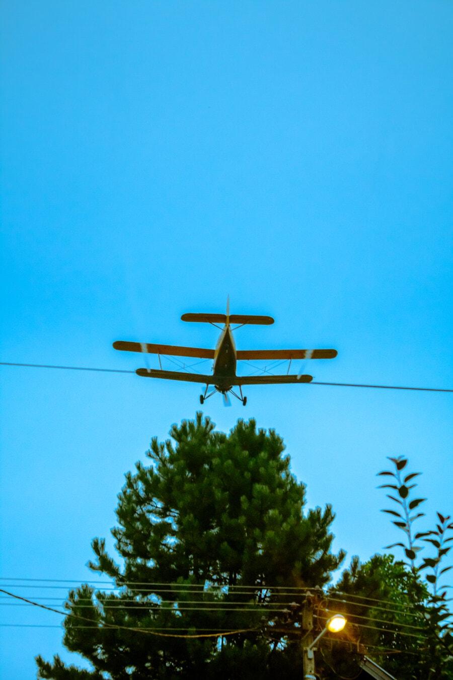 aerodynamic, biplane, aircraft, wings, blue sky, flight, plane, flying, jet, airplane