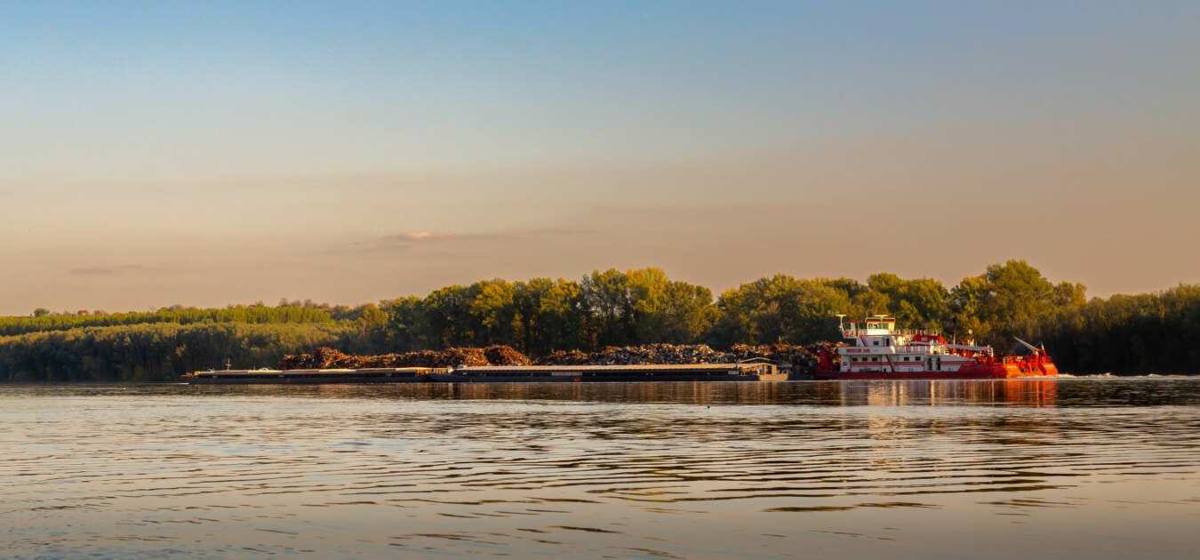 Cargo, barge, Cargo, transport, rivière, eau, coucher de soleil, rivage, Lac, aube