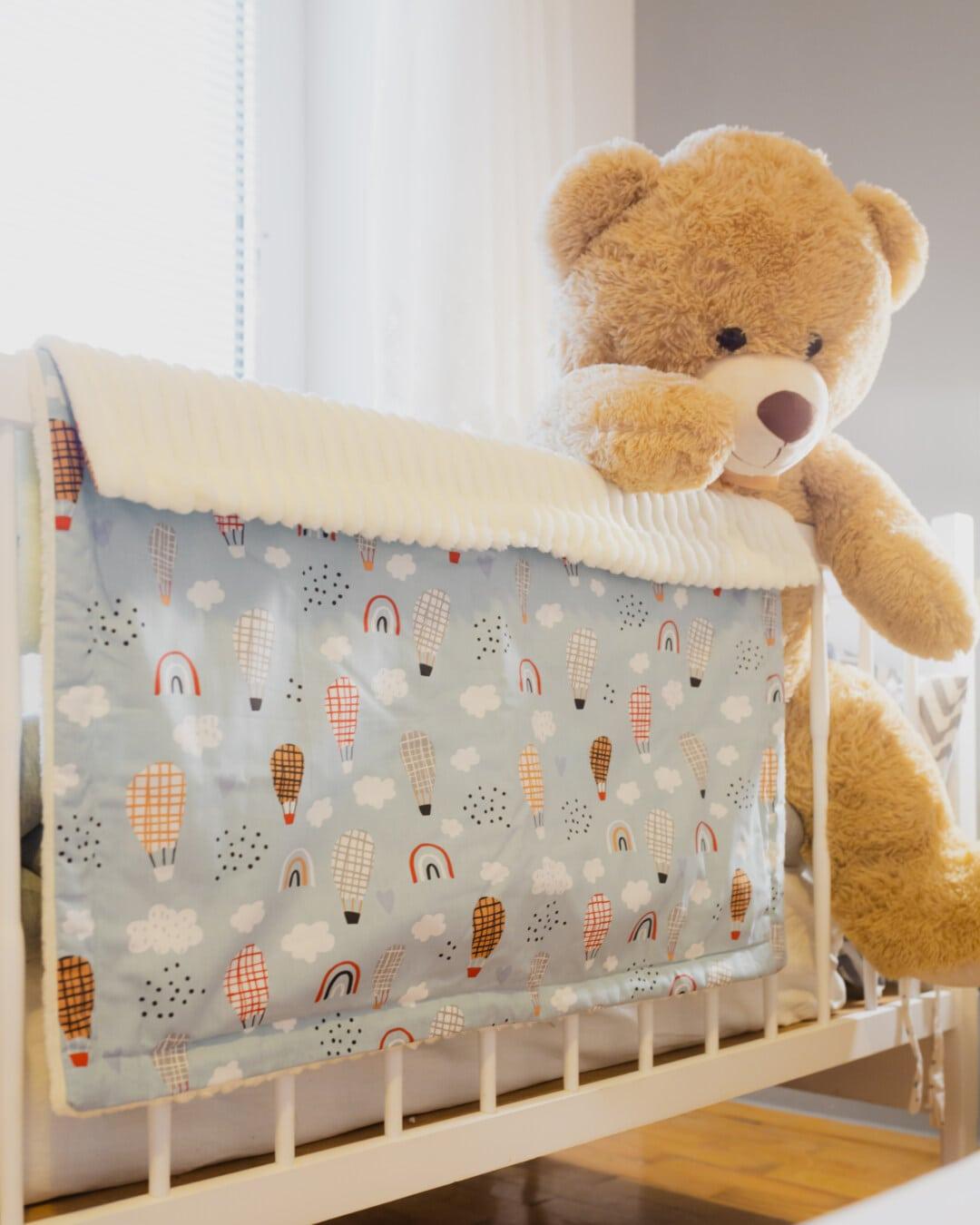 brun clair, ours en peluche, jouet, gros, couverture, lit, chambre à coucher, bébé, chambre, mignon