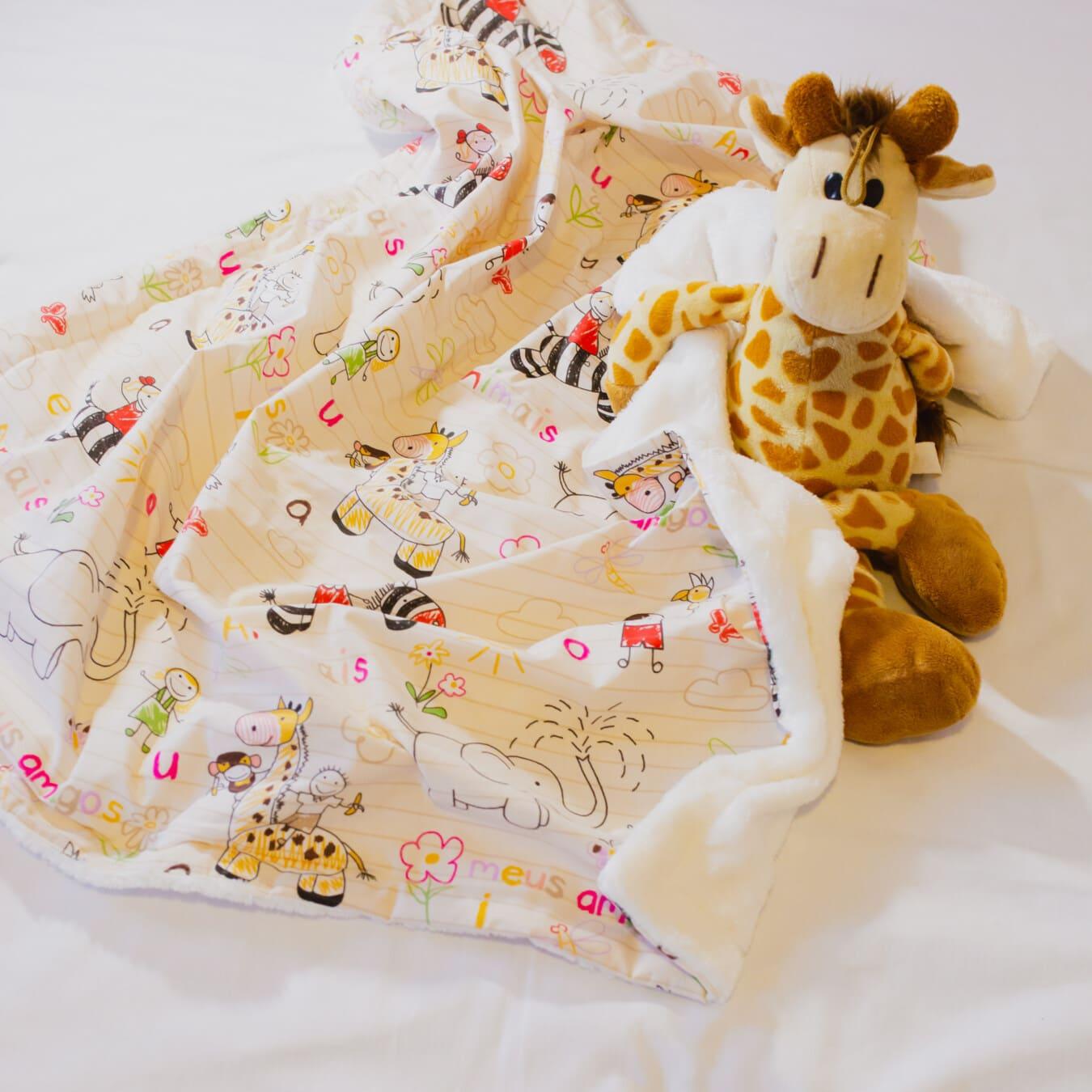 Plüsch, Giraffe, Spielzeug, Textil, Decke, Baumwolle, Windel, Bett, niedlich, Schlafzimmer