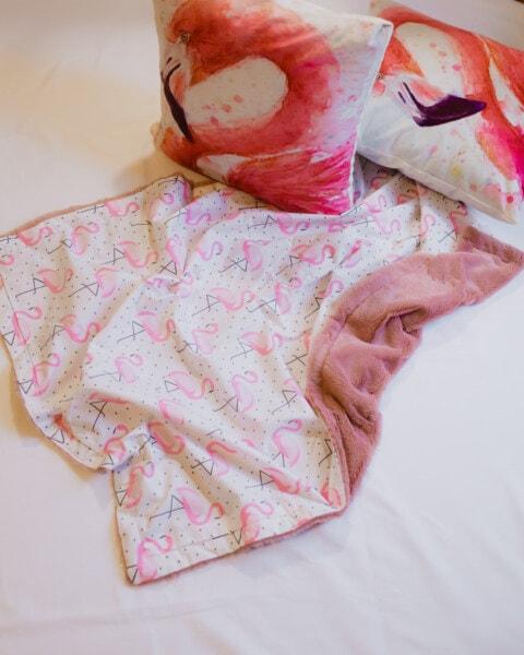 橡皮布, 垫, 纹理, 纺织, 枕头, 设计, 火烈鸟, 床上, 时尚, 卧室