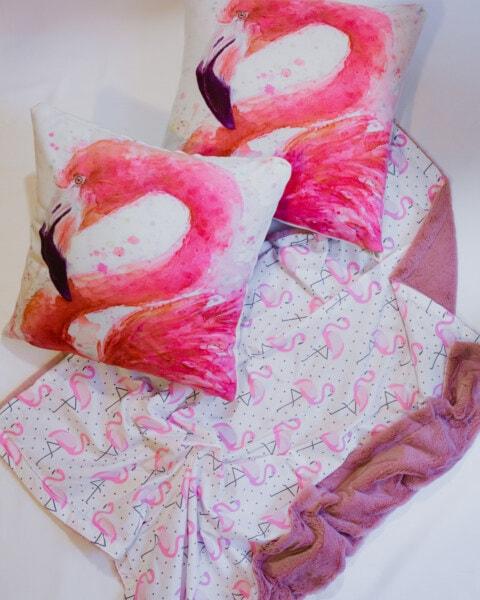 火烈鸟, 垫, 设计, 卧室, 床上, 粉色, 上升, 艺术, 颜色, 绘画