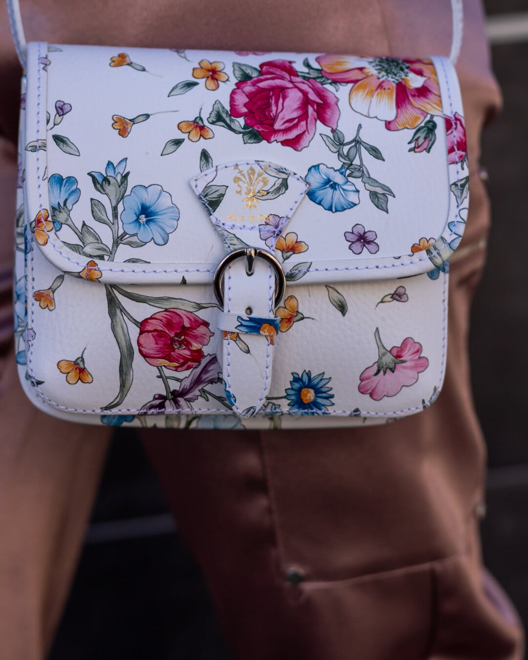 Leder, Handtasche, bunte, Blumen, Design, Schnalle, trendy, Jahrgang, Lust auf, Mode