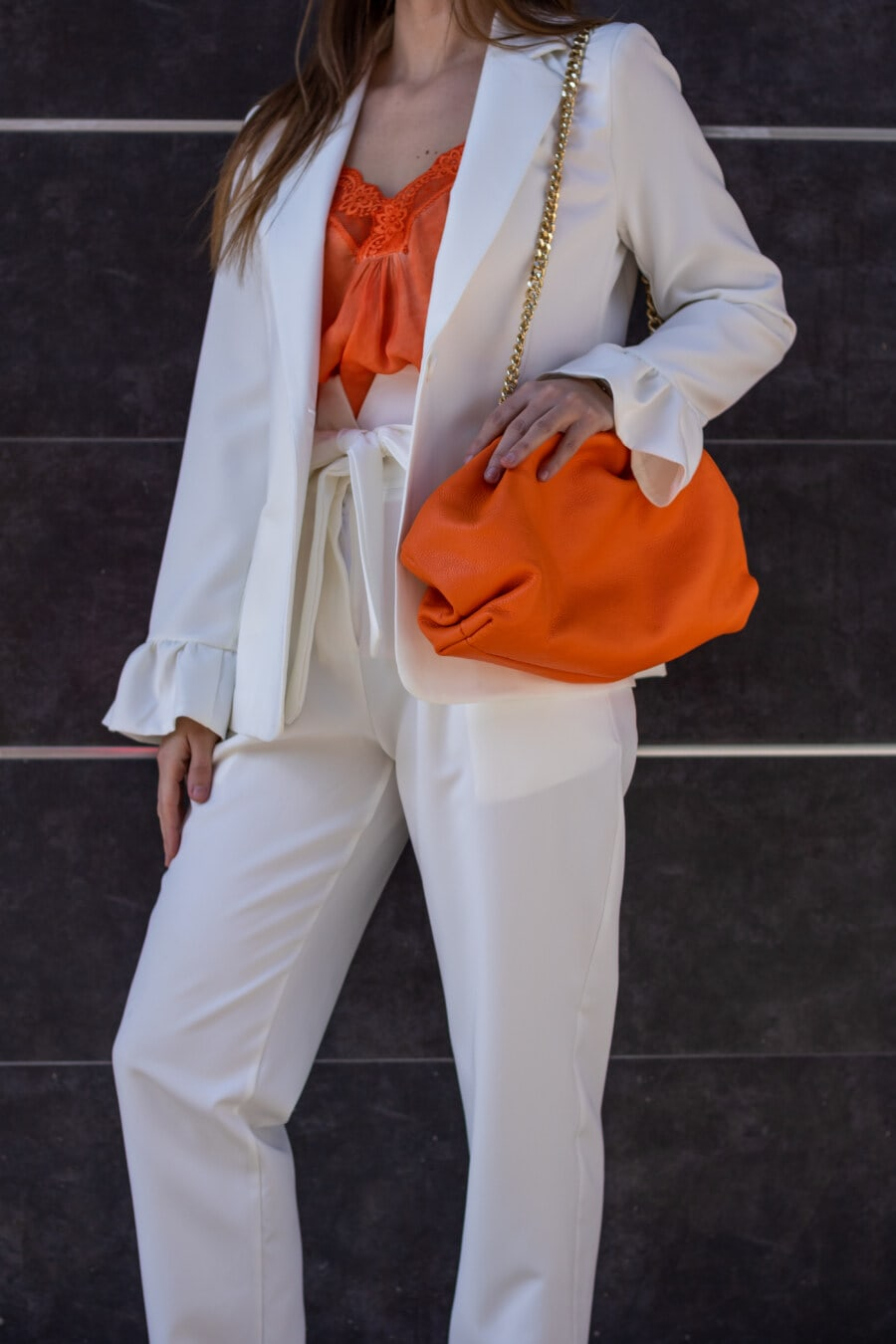 elegant, fancy, white, businesswoman, outerwear, coat, pants, orange yellow, handbag, woman