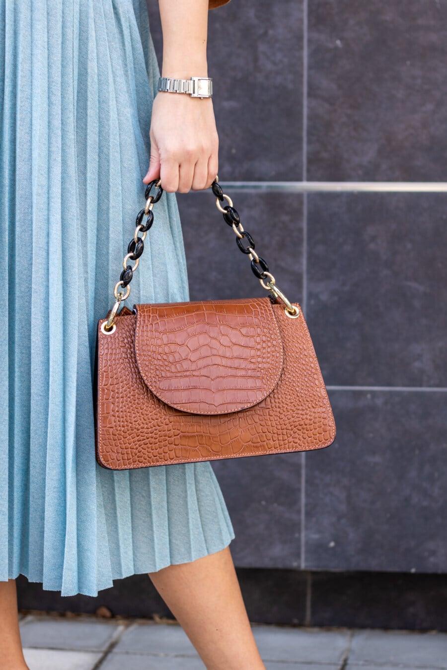 Braun, Handtasche, Leder, halten, Frau, Rock, Mode, elegant, Glanz, Porträt