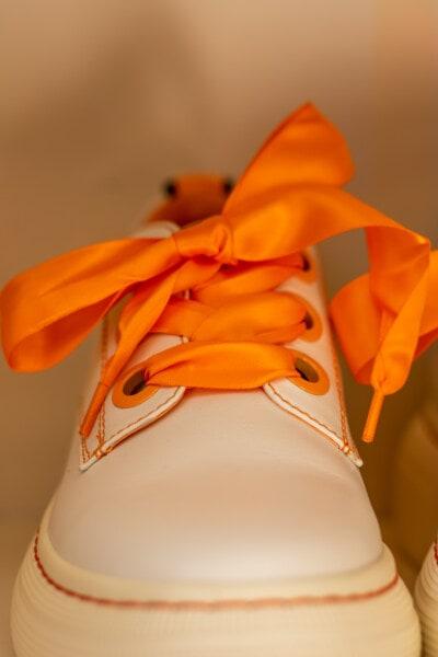 Schnürsenkel, Orange gelb, Mode, aus nächster Nähe, Seide, weiß, Turnschuhe, Farbe, Kunst, Klassiker