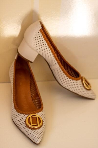 chaussures, en cuir, brun clair, élégant, décontractée, éclat doré, mode, paire, chaussures, chaussure