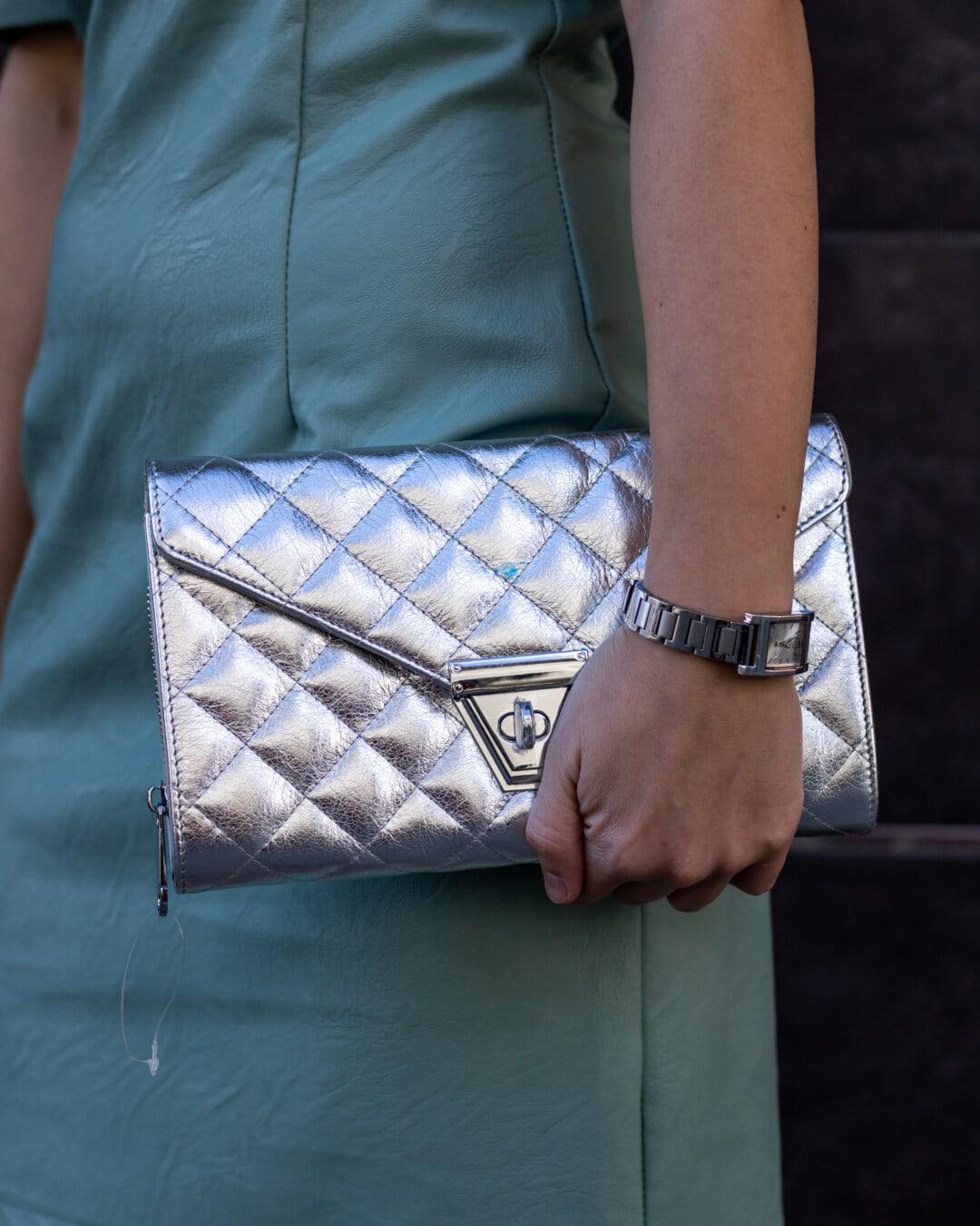 блестящ, чанта, сив, рокля, мода, кожа, скъпо, ръчен часовник, сребро, жена