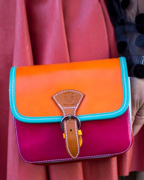 orange yellow, colorful, handbag, pinkish, trendy, fancy, leather, luggage, fashion, shopping