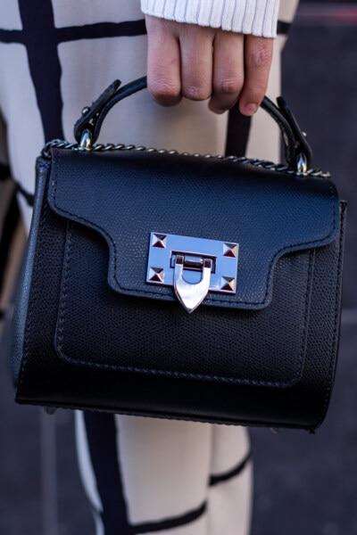 Klassiker, Handtasche, Schwarz, Leder, Hand, halten, Gepäck, Mode, Dame, Gepäck