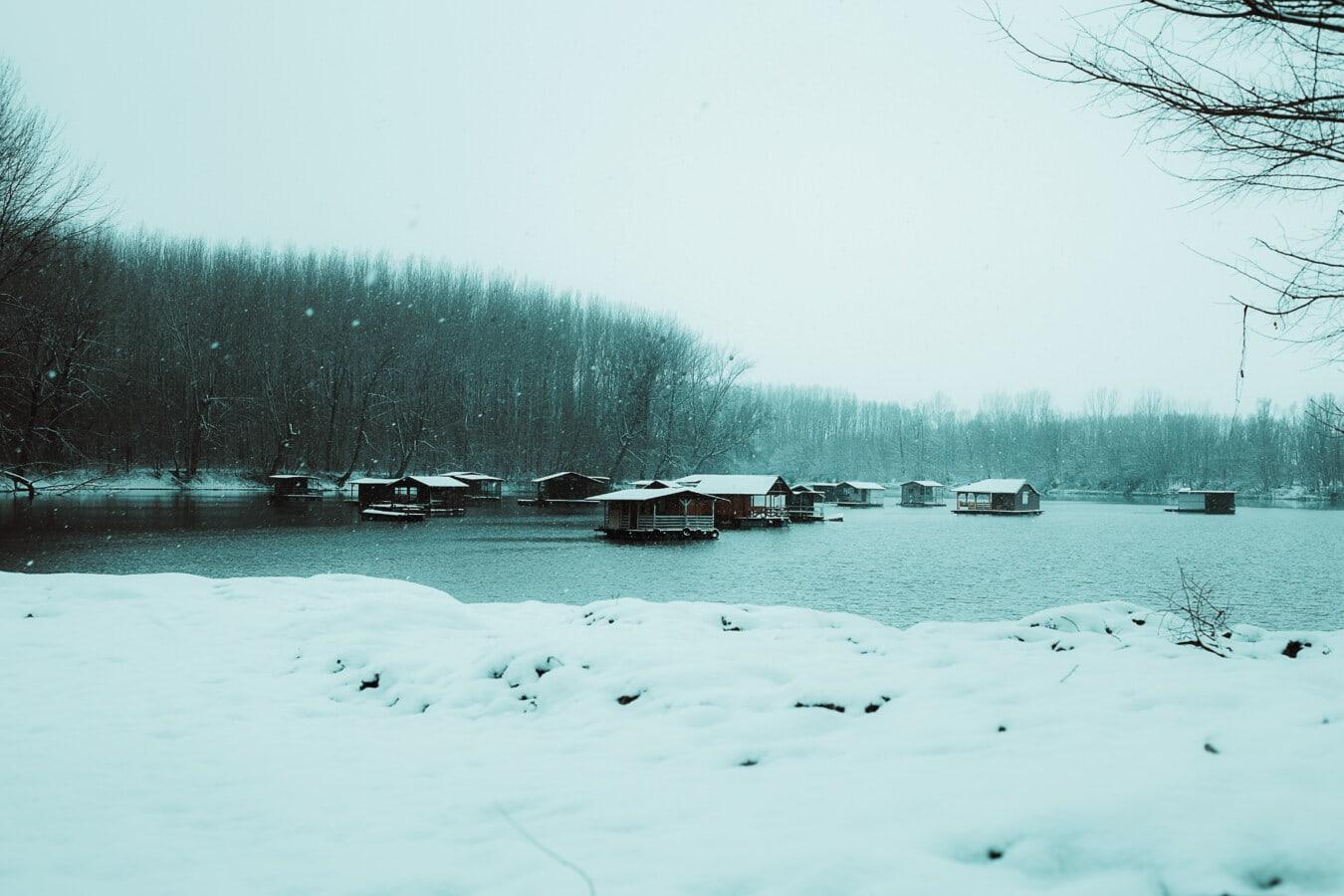 paysage, Hiver, soirée, eau froide, neigeux, Panorama, météo, neige, froide, glace
