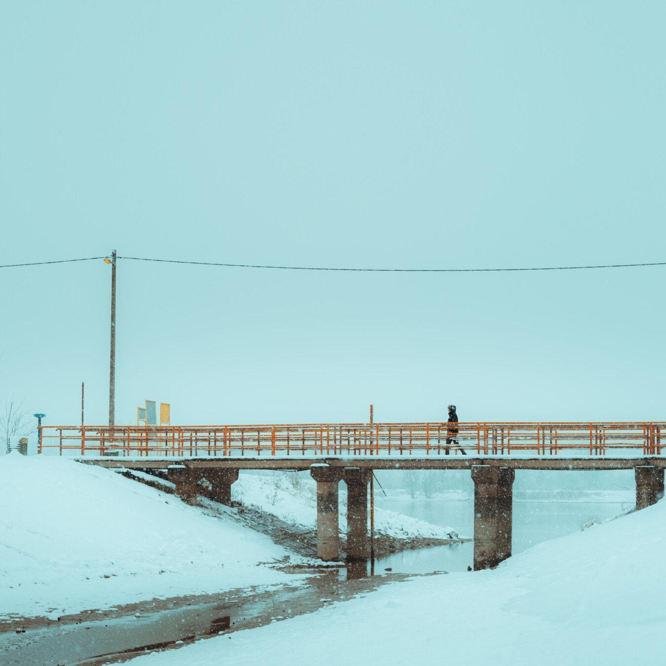 mauvais temps, météo, pont, Hiver, neigeux, canal, marche, personne, neige, mer