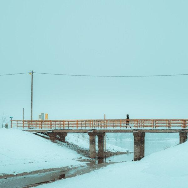 สภาพอากาศเลวร้าย, สภาพอากาศ, สะพาน, หนาว, หิมะ, ช่อง, เดิน, คน, หิมะ, ทะเล