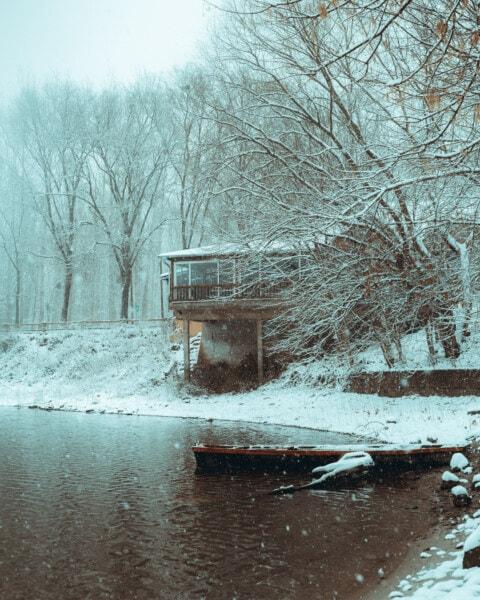 mauvais temps, neige, Storm, maison, berge, Cottage, tempête de neige, Hiver, froide, paysage