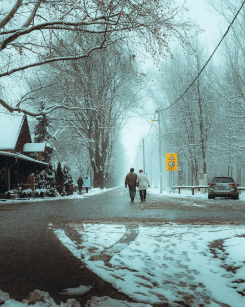 strada, inverno, a piedi, maltempo, bufera di neve, nevoso, persone, bivio, controllo del traffico, Meteo