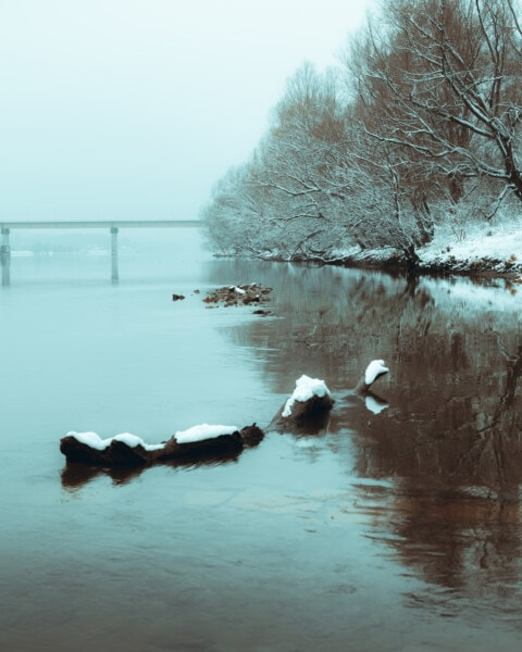paysage, eau glacée, neigeux, Hiver, brumeux, pont, plage, neige, eau, aube