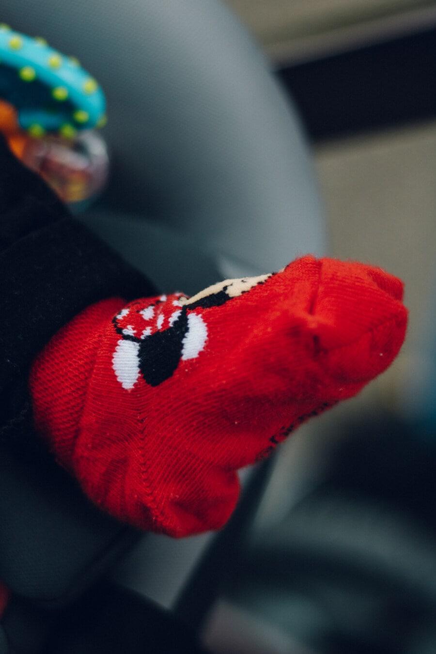 chaussette, rouge, bébé, pied, tricots, jambe, à l'intérieur, brouiller, vêtements, mignon