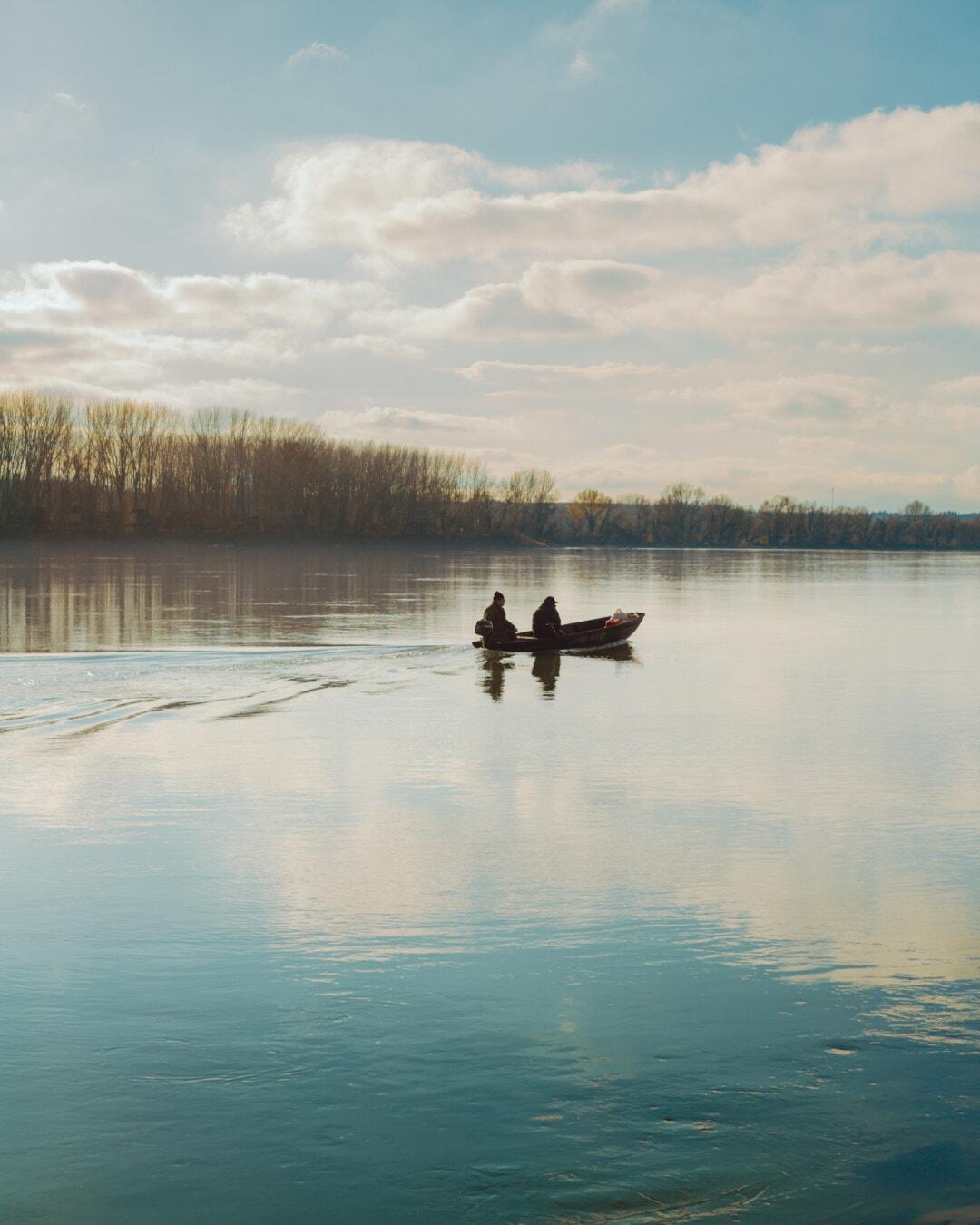 fisherman, fishing boat, morning, foggy, riverbank, river, dawn, reflection, lake, sunset