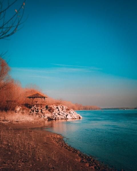 rivière rocheuse, berge, soleil, paysage, eau, coucher de soleil, nature, aube, été, à l'extérieur
