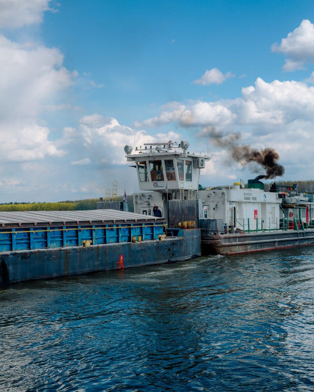 cargo ship, wharf, barge, engine, smoke, diesel, logistics, shipyard, shipment, pier