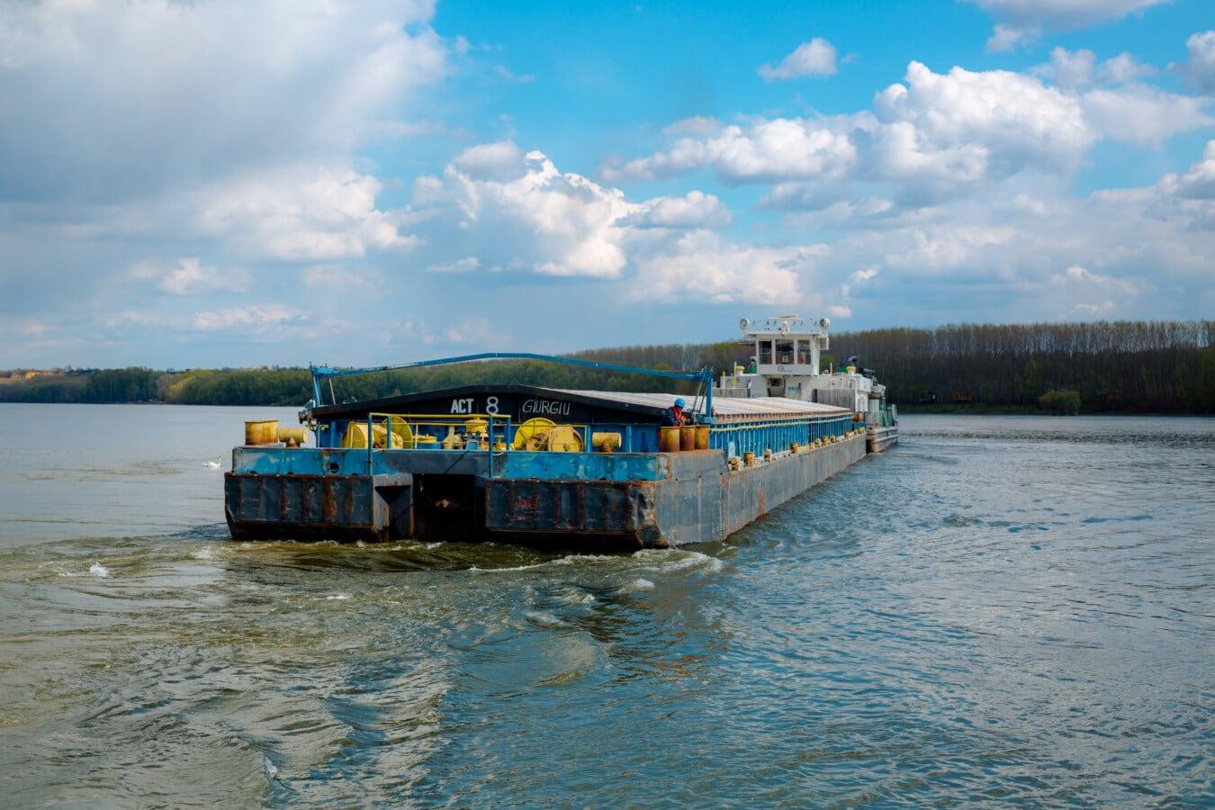 Frachtschiff, Lastkahn, Fluss, Danube, schwere, Transport, industrielle, Wasser, Wasserfahrzeuge, Schiff