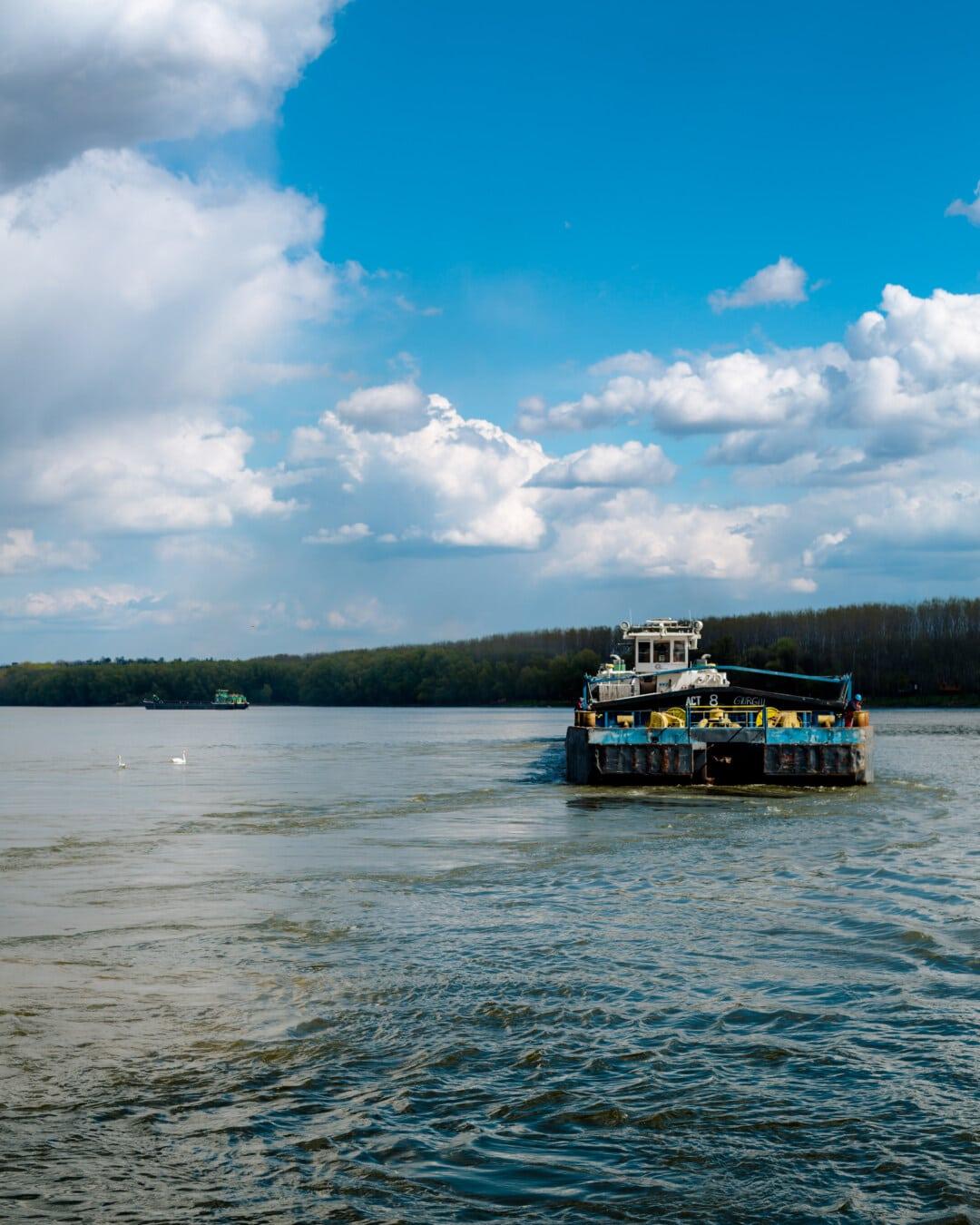 Cargo, transport, barge, voyage, Danube, embarcation, bateau, eau, rivière, navire