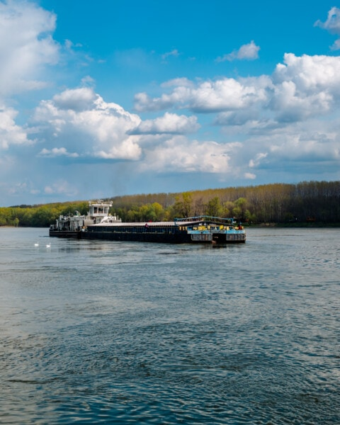 cargo ship, shipment, industry, big, barge, watercraft, hovercraft, river, craft, water