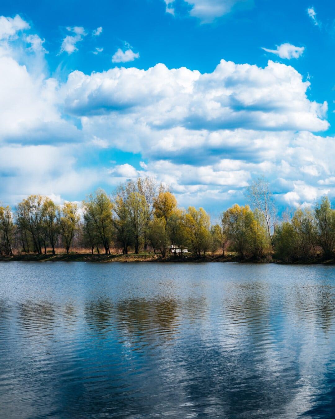 au bord du lac, ciel bleu, réflexion, printemps, nuages, majestueux, placide, paysage, Lac, rive
