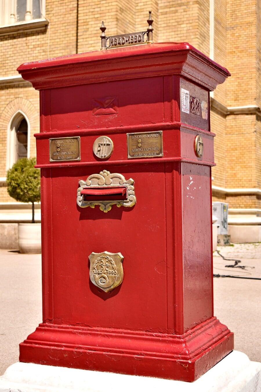 postboks, gammeldags, gate, rød, støpejern, jern, messing, boksen, arkitektur, antikk