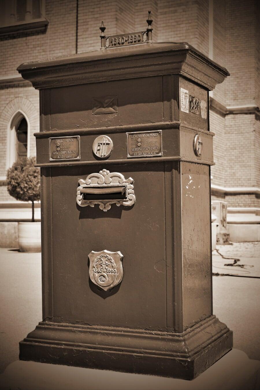 메일 슬롯, 사서함, 도시 지역, 거리, 구식, 역사적인, 상자, 흑백, 클래식, 오래 된