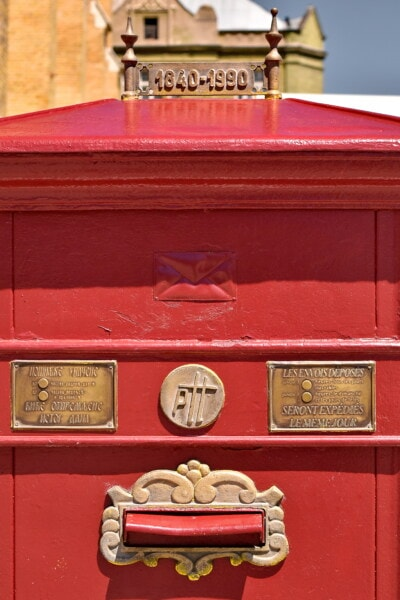 old, mail slot, mail, vintage, mailbox, old style, red, cast iron, historic, box