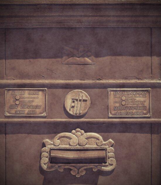 слот за поща, пощенска кутия, старомодна, исторически, монохромен, сепия, стар стил, стар, знак, символ