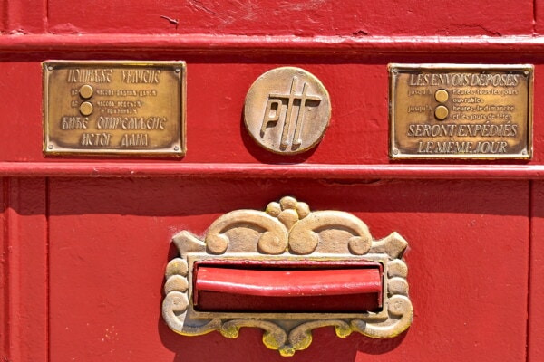 antique, mailbox, mail slot, mail, metal, brass, cast iron, container, box, old