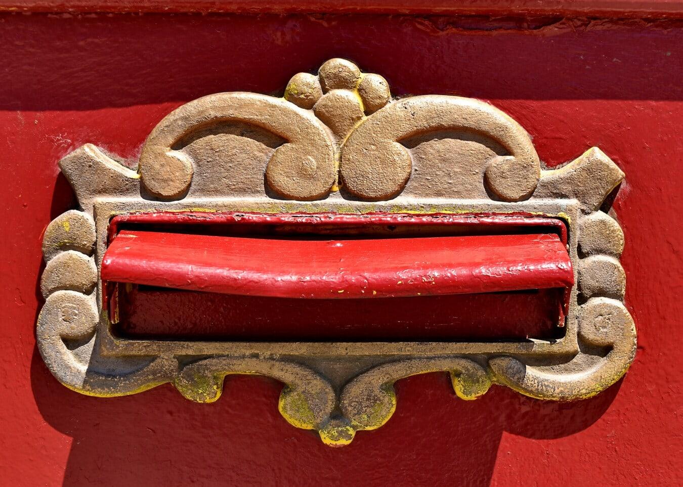fente de courrier, fer de fonte, boîte aux lettres, bronze, en laiton, décoratifs, unique, décoration, vieux, texture