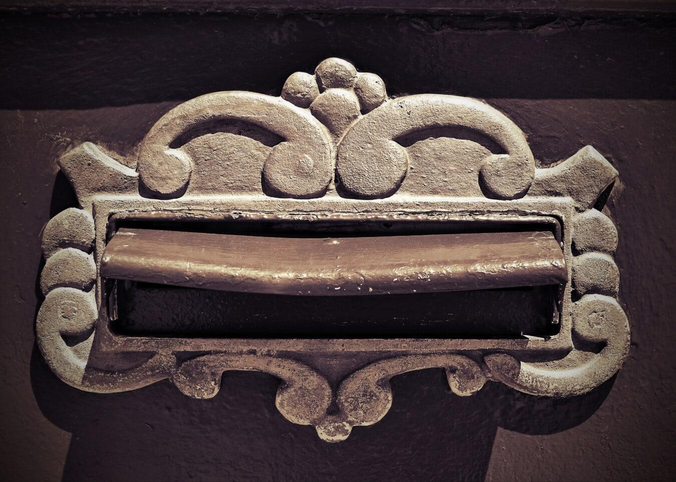 mail slot, close-up, mailbox, rust, vintage, brass, history, detail, ornament, monochrome