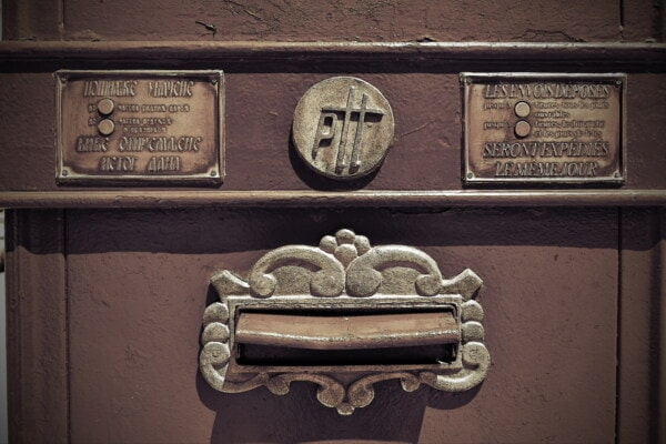 mail slot, mailbox, historic, old fashioned, cast iron, rust, metal, bronze, decay, dirty
