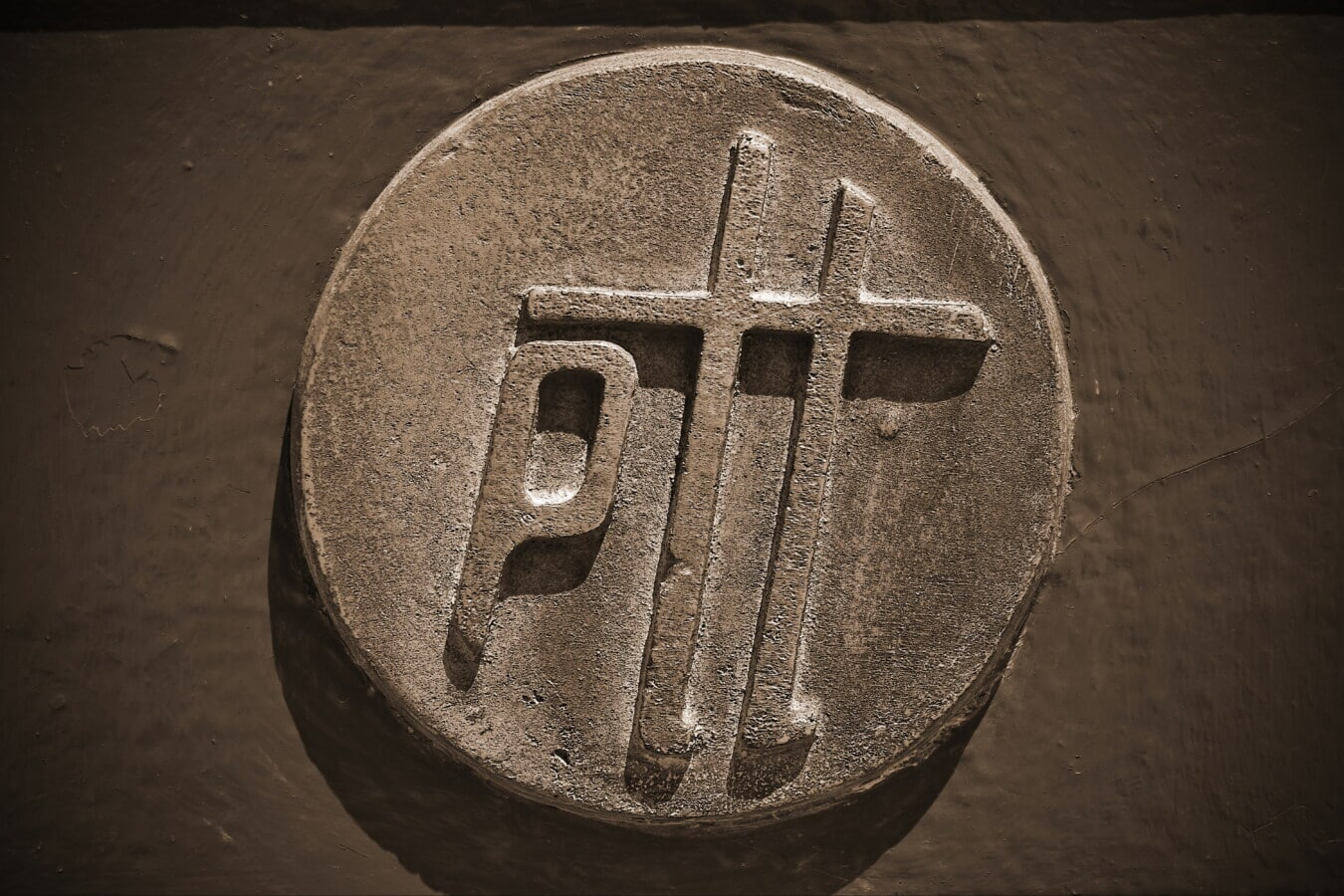 Messing, Metall, Bronze, aus Gusseisen, Symbol, Zeichen, Details, glänzend, Sepia, Monochrom