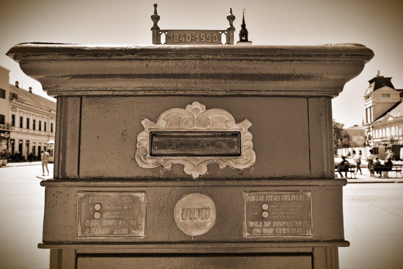 historique, photographie, boîte aux lettres, fente de courrier, vintage, démodé, nostalgie, sépia, architecture, conteneur