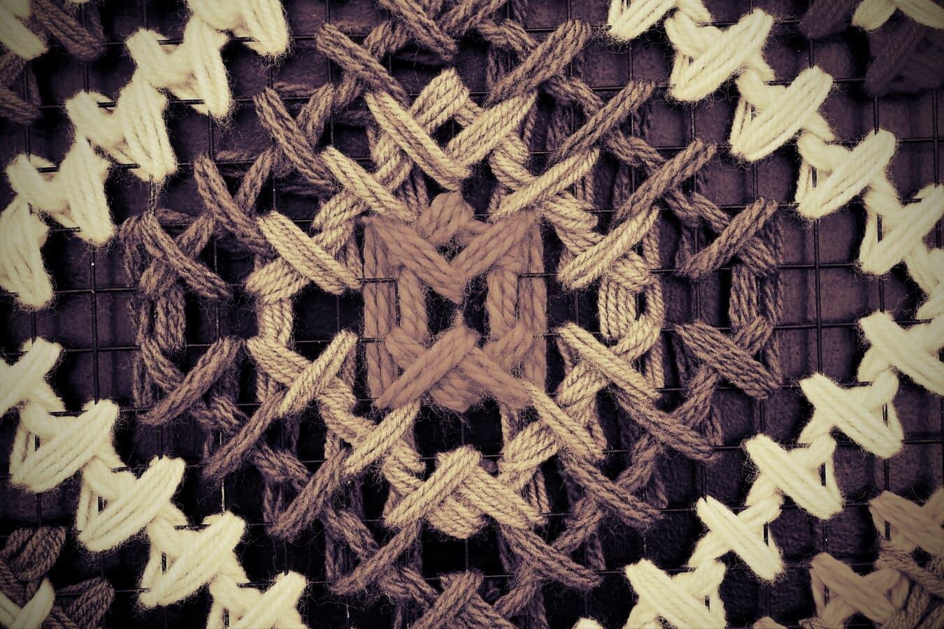 fibre, monochrome, sépia, thread, vintage, laine, nœud, conception, fermer, grille