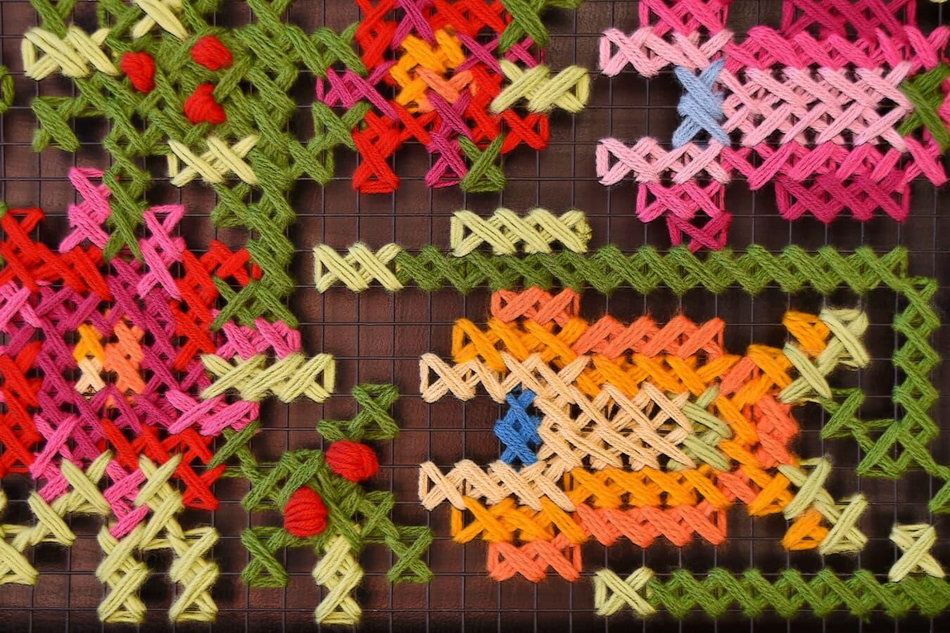 nœud, laine, coloré, thread, fils, artisanat, grille, Metal, fibre, unique