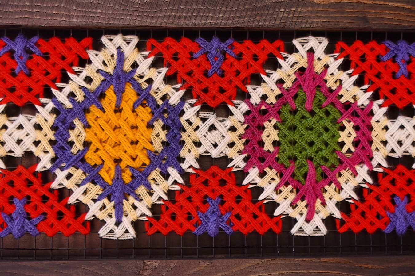 madera, marco, colorido, lana, nudo de, hilo de rosca, géneros de punto, fibra, vendimia, artesanía