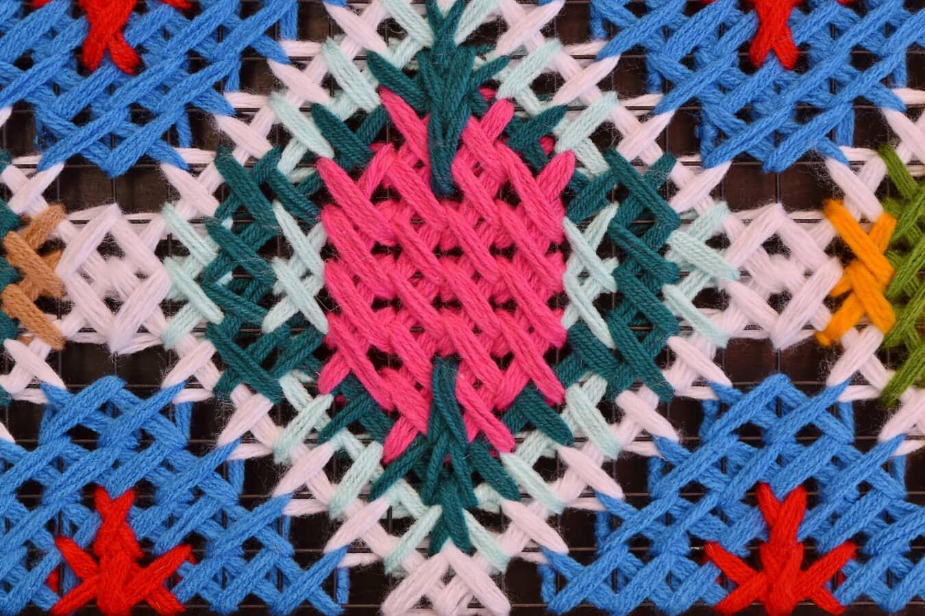 fiber, thread, wool, geometric, traditional, design, pattern, craft, mosaic, fabric
