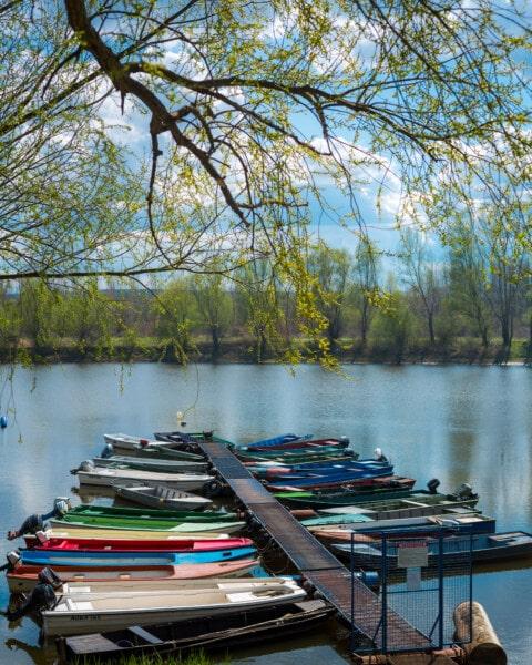 bateau de rivière, jetée, bateau à moteur, bateaux, printemps, au bord du lac, bateau, Lac, eau, à l'extérieur