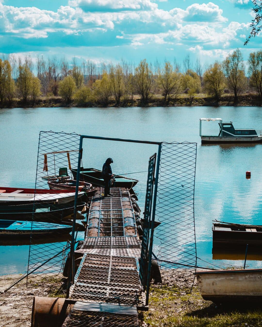 fishing rod, fishing, fisherman, fishing boat, harbour, dock, water, boat, watercraft, lake