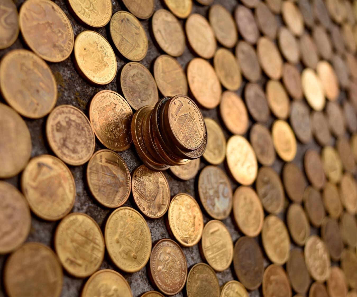 Währung, Geld, Metall, Serbien, Münzen, Fortune, Investition, reiche, Bargeld, Stapel