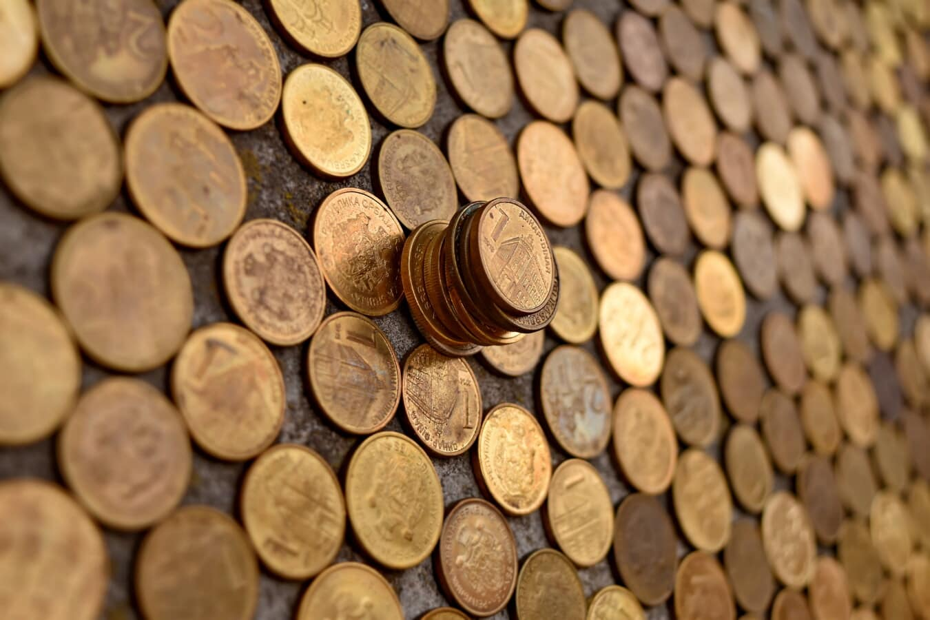 shining, metal, coins, fortune, cash, money, investment, rich, copper, brass