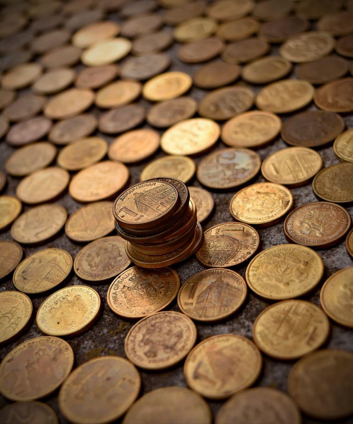 Münzen, Fortune, reiche, Schatz, Geld, Metall, goldener Glanz, Detail, Investition, Textur