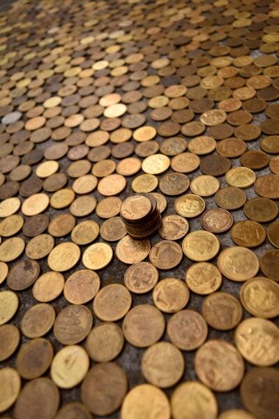 Geld, Münzen, Metall, Textur, Messing, Serbien, Bargeld, Einsparungen, Borke, Stapel